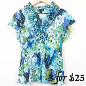 East 5th Ruffle Abstract Floral Button Up Blue Top